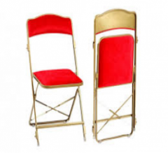 Chaise style pliante rouge et or